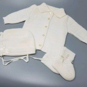 Vintage Baby Layette Sweater, Booties and Hat